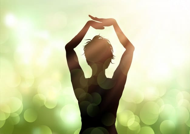 Mujer Pose Yoga Contra Fondo Luces Bokeh 1048 11750